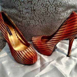 Vibrant & FUN‼Orange and Tan Shoe Republic Heels